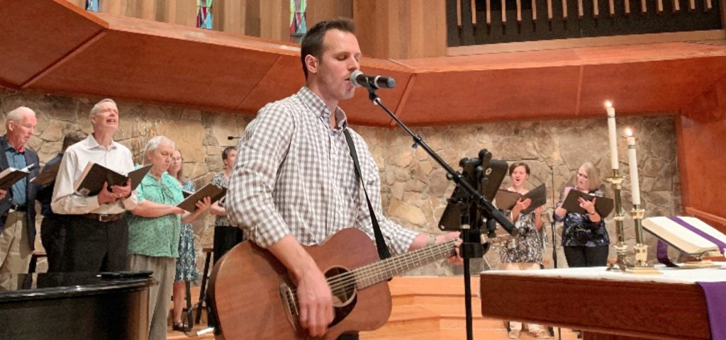 Worship musicians perform during the 11:00 am service