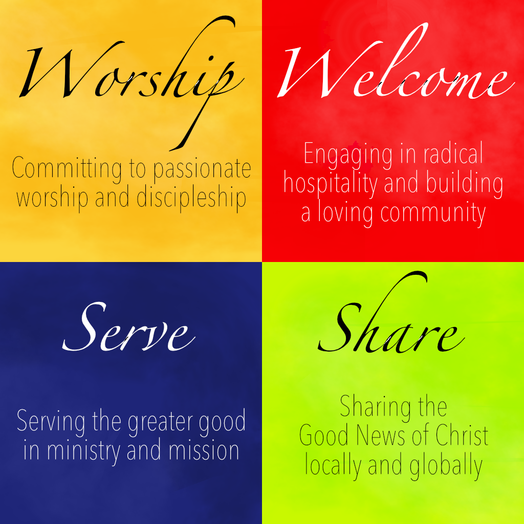 Worship: Committing to passionate worship and discipleship. Welcome: Engaging in radical hospitality and building a loving community. Serve: Serving the greater good in ministry and mission. Share: Sharing the Good News of Christ locally and globally.